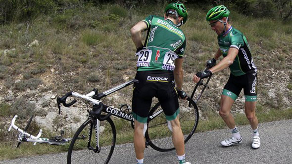 Tacks cause chaos in Tour De France